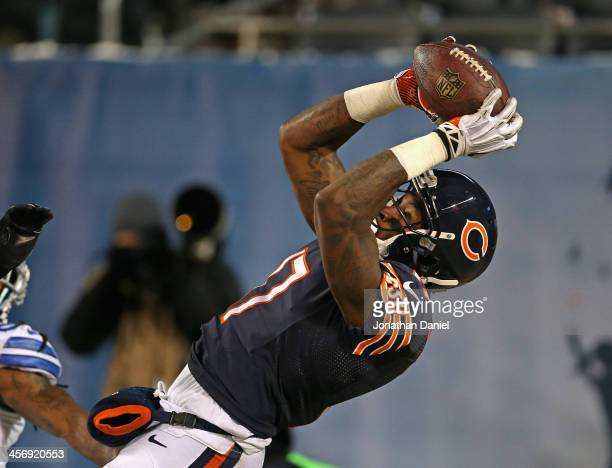 Alshon Jeffery of the Chicago Bears catches a touchdown pass against the Dallas Cowboys at Soldier Field on December 9 2013 in Chicago Illinois