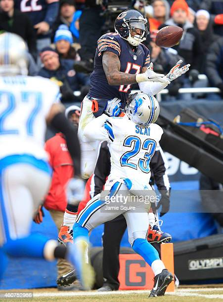 Alshon Jeffery of the Chicago Bears catches a touchdown pass over Darius Slay of the Detroit Lions during the third quarter at Soldier Field on...