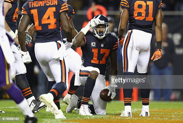 Alshon Jeffery of the Chicago Bears celebrates after scoring a touchdown during the third quarter against the Minnesota Vikings at Soldier Field on...