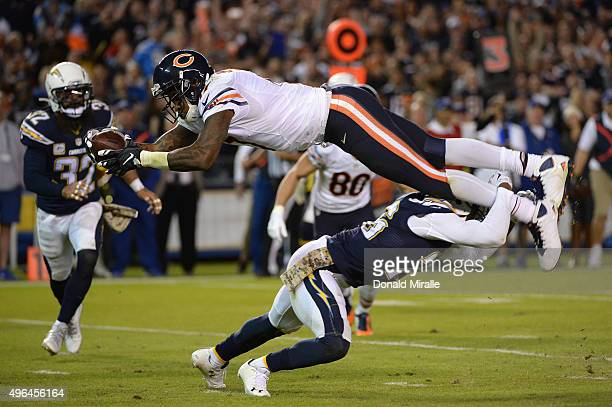 Alshon Jeffery of the Chicago Bears is defended by Patrick Robinson of the San Diego Chargers at Qualcomm Stadium on November 9 2015 in San Diego...