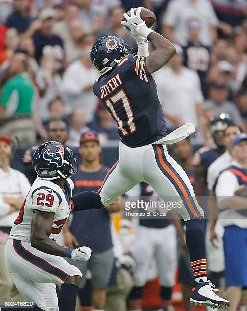 Alshon Jeffery of the Chicago Bears makes a catch against Andre Hal of the Houston Texans in the second quarter at NRG Stadium on September 11 2016...