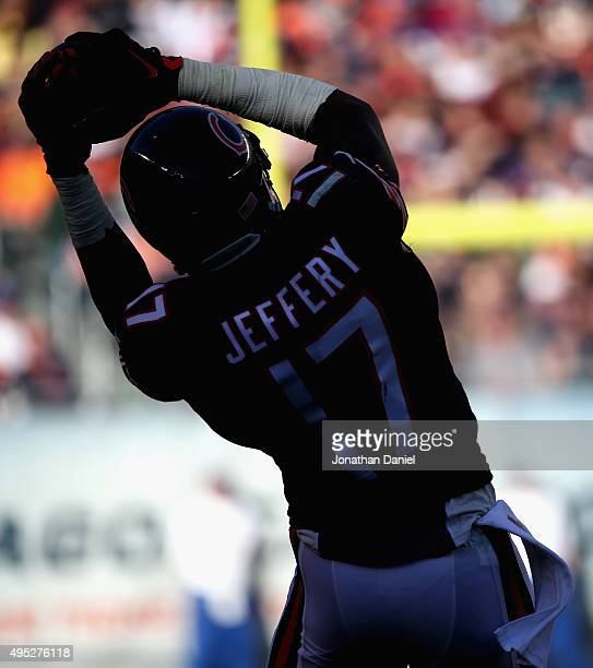 Alshon Jeffery of the Chicago Bears makes a catch against the Minnesota Vikings at Soldier Field on November 1 2015 in Chicago Illinois The Vikings...