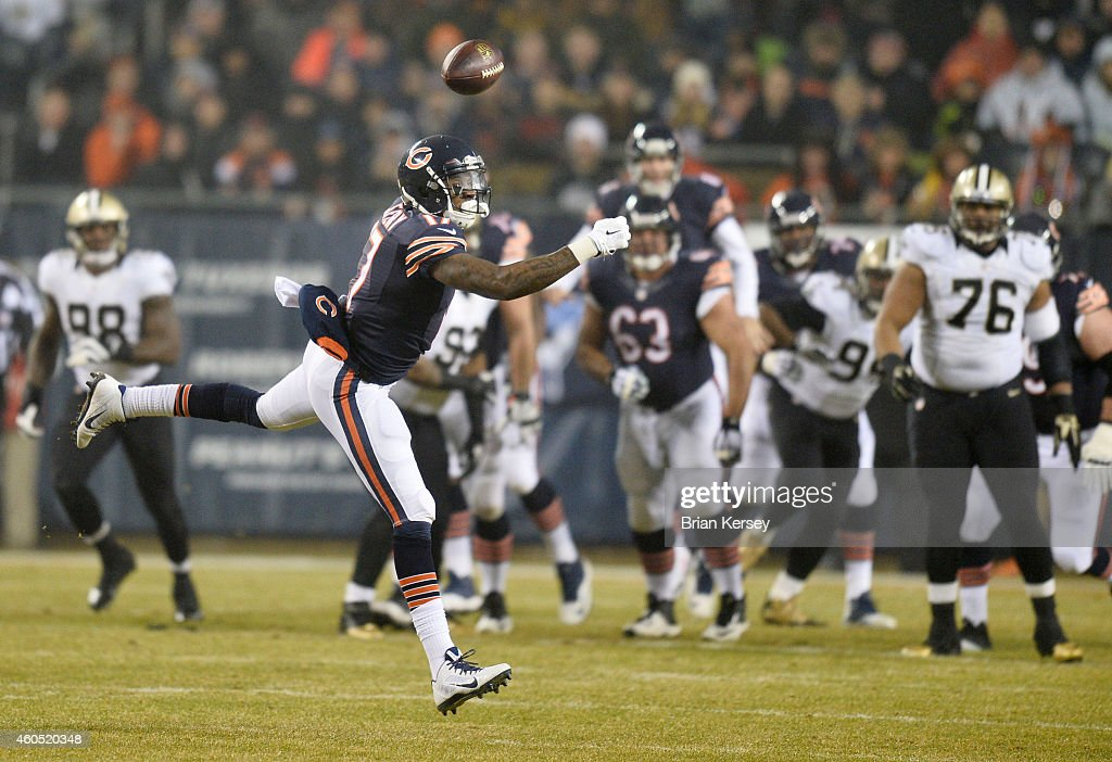 Alshon Jeffery #17 of the Chicago Bears misses a pass during the first quarter of their game against the New Orleans Saints at Soldier Field on December 15, 2014 in Chicago, Illinois.