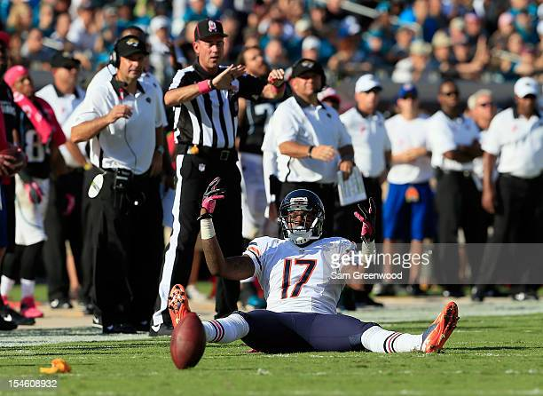 Alshon Jeffery of the Chicago Bears raises his arms after a penalty flag during the game against the Jacksonville Jaguars at EverBank Field on...
