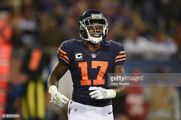 Alshon Jeffery of the Chicago Bears reacts during the second half against the Minnesota Vikings at Soldier Field on October 31 2016 in Chicago...