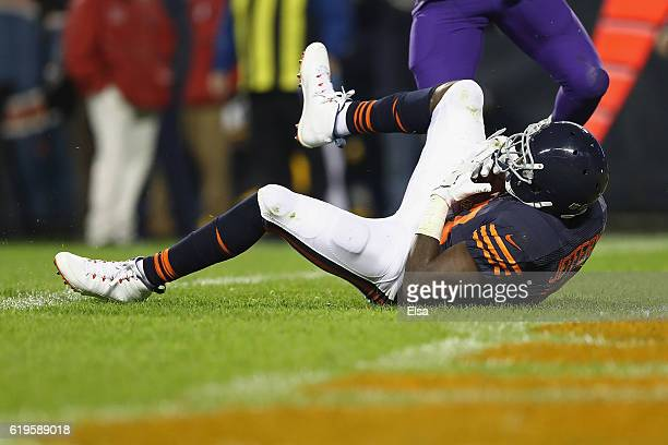 Alshon Jeffery of the Chicago Bears scores a touchdown during the third quarter against the Minnesota Vikings at Soldier Field on October 31 2016 in...