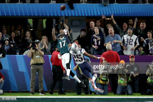 Alshon Jeffery of the Philadelphia Eagles catches a 34 yard pass over Eric Rowe of the New England Patriots for a touchdown during the first quarter...