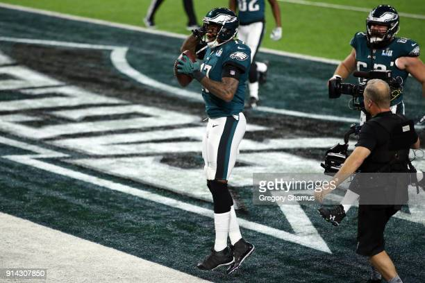 Alshon Jeffery of the Philadelphia Eagles celebrates after catching a 34 yard touchdown pass against the New England Patriots in the first quarter in...