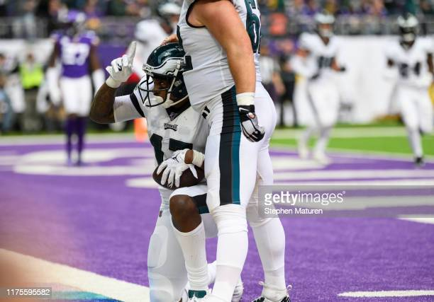Alshon Jeffery of the Philadelphia Eagles celebrates after scoring a touchdown in the third quarter of the game agains the Minnesota Vikings at US...