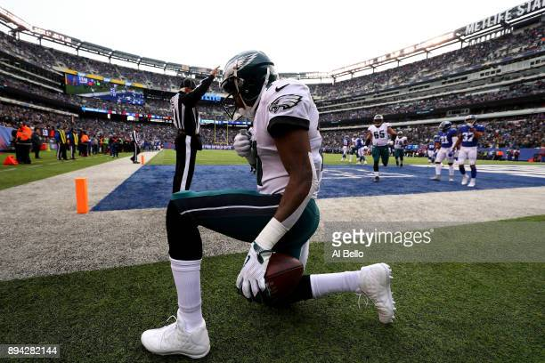 Alshon Jeffery of the Philadelphia Eagles celebrates after scoring a 3 yard touchdown against the New York Giants during the first quarter in the...