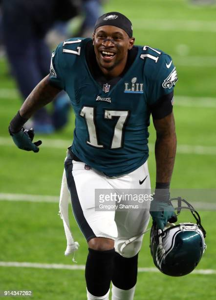 Alshon Jeffery of the Philadelphia Eagles celebrates defeating the New England Patriots 4133 in Super Bowl LII at US Bank Stadium on February 4 2018...