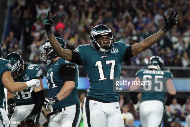Alshon Jeffery of the Philadelphia Eagles celebrates the 11yard touchdown catch of teammate Zach Ertz during the fourth quarter against the New...