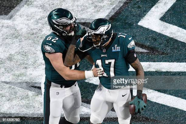 Alshon Jeffery of the Philadelphia Eagles celebrates with Jason Kelce after a 34yard touchdown catch against the New England Patriots during the...