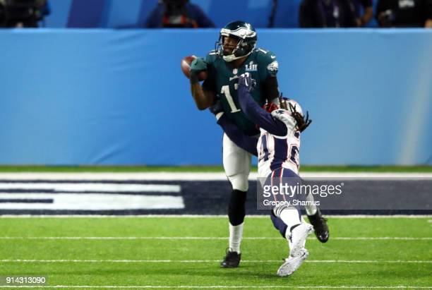 Alshon Jeffery of the Philadelphia Eagles fails to make the catch against Stephon Gilmore of the New England Patriots during the second quarter in...