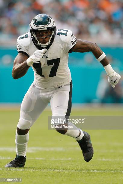 Alshon Jeffery of the Philadelphia Eagles in action against the Miami Dolphins during the fourth quarter at Hard Rock Stadium on December 01 2019 in...