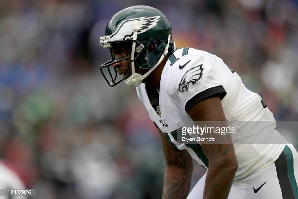 Alshon Jeffery of the Philadelphia Eagles lines up during the second quarter of an NFL game against the Buffalo Bills at New Era Field on October 27...