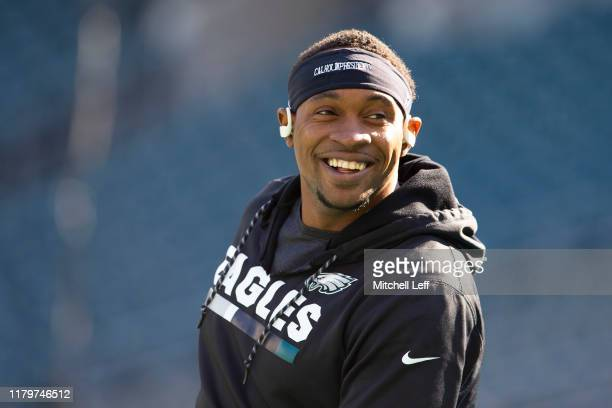 Alshon Jeffery of the Philadelphia Eagles looks on prior to the game against the Chicago Bears at Lincoln Financial Field on November 3 2019 in...