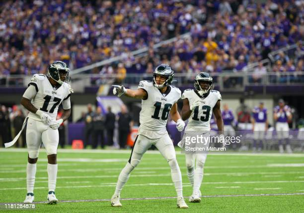 Alshon Jeffery of the Philadelphia Eagles Mack Hollins and Nelson Agholor line up in the third quarter of the game against the Minnesota Vikings at...