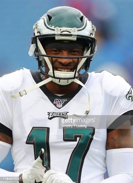 Alshon Jeffery of the Philadelphia Eagles on the field before a game against the Buffalo Bills at New Era Field on October 27 2019 in Orchard Park...