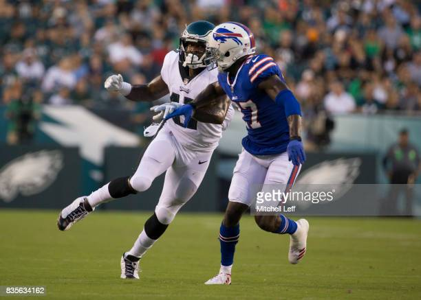 Alshon Jeffery of the Philadelphia Eagles plays against Tre'Davious White of the Buffalo Bills the preseason game at Lincoln Financial Field on...