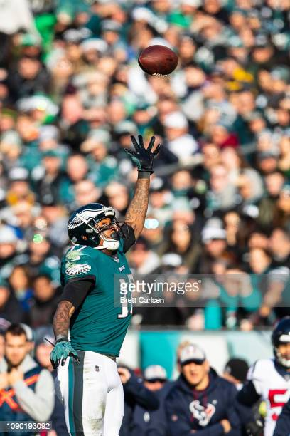 Alshon Jeffery of the Philadelphia Eagles reaches for a pass thrown out of his reach during the game against the Houston Texans at Lincoln Financial...