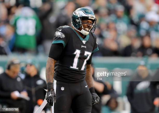 Alshon Jeffery of the Philadelphia Eagles reacts after a hit by the Chicago Bears at Lincoln Financial Field on November 03 2019 in Philadelphia...