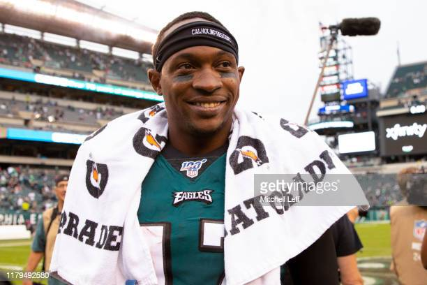Alshon Jeffery of the Philadelphia Eagles reacts after the game against the New York Jets at Lincoln Financial Field on October 6 2019 in...