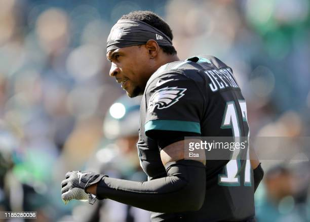 Alshon Jeffery of the Philadelphia Eagles reacts during warm ups before the game against the Chicago Bears at Lincoln Financial Field on November 03...