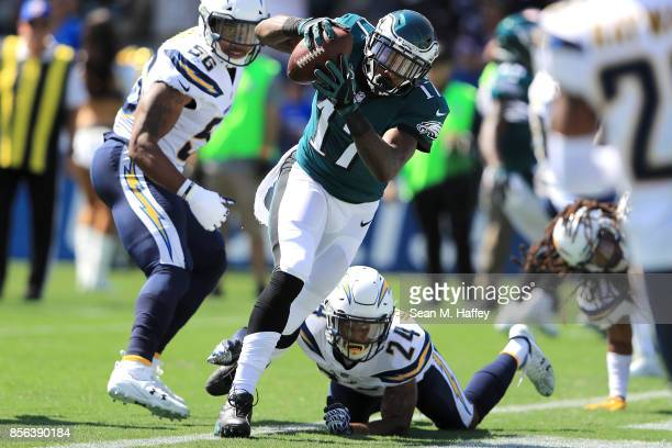 Alshon Jeffery of the Philadelphia Eagles scores a touchdown during the game against the Los Angeles Chargers at StubHub Center on October 1 2017 in...