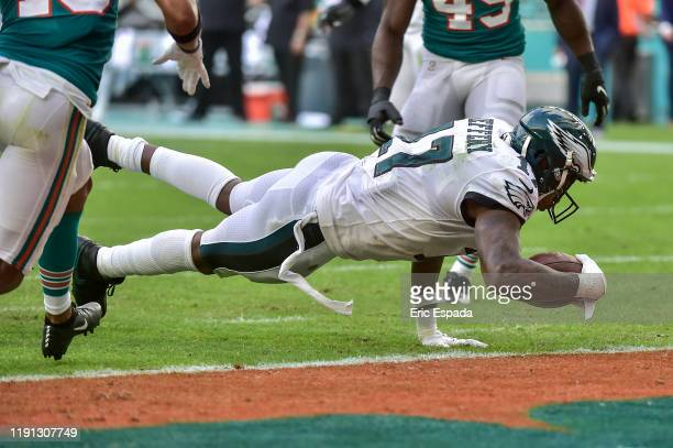 Alshon Jeffery of the Philadelphia Eagles scores a touchdown in the third quarter against the Miami Dolphins at Hard Rock Stadium on December 01 2019...
