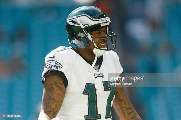 Alshon Jeffery of the Philadelphia Eagles warms up prior to the game against the Miami Dolphins at Hard Rock Stadium on December 01 2019 in Miami...