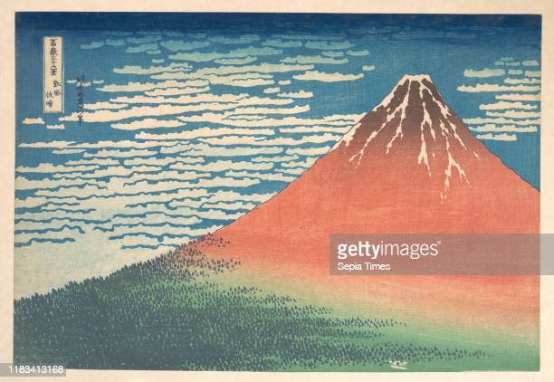Also known as Red Fuji, from the series Thirty-six Views of Mount Fuji , ___________, Edo period , circa 1830-32, Japan, Polychrome woodblock print;...