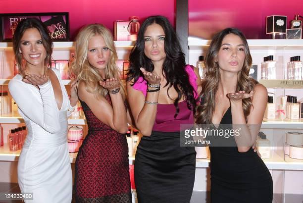 Alssandra Ambrosio Erin Heatherton Adriana Lima and Lily Aldridge pose during the Victoria's Secret Fashion's Night Out event at Victoria's Secret...