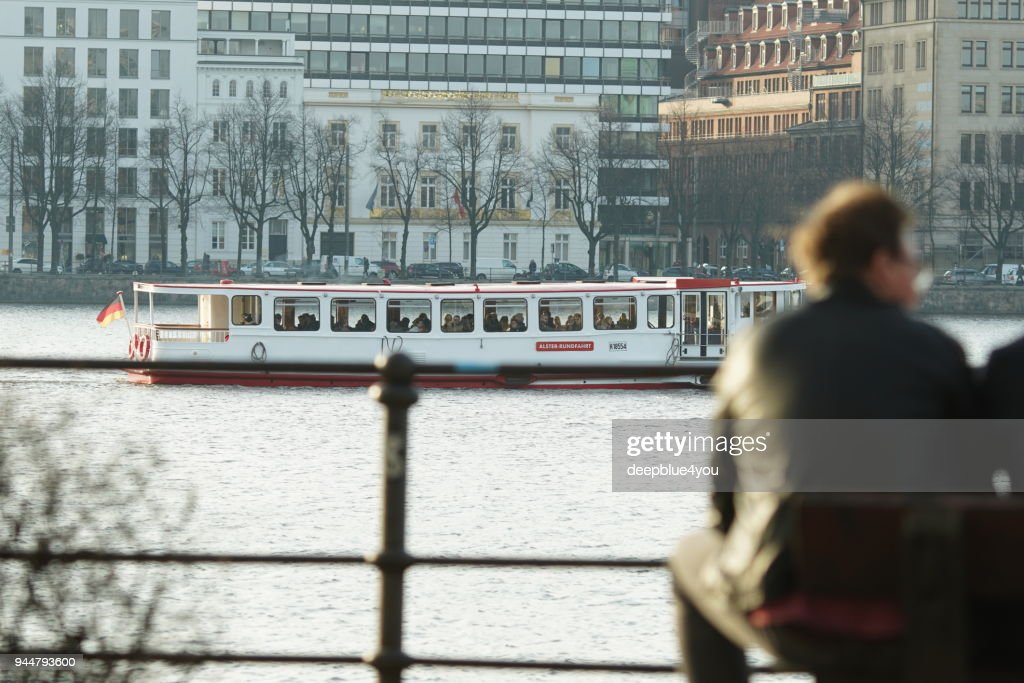 Alster cruise ship travels over the alster : Stock Photo