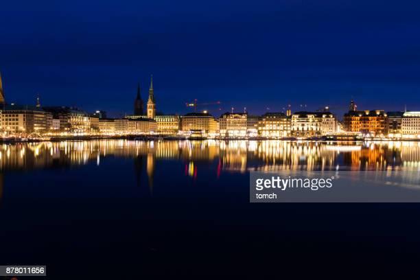 Alstersee in der Abenddämmerung, Hamburg