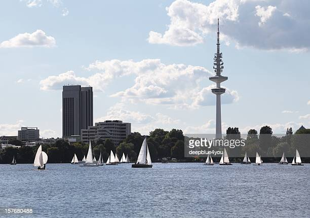 alster lake hamburg with sailing boats in summer
