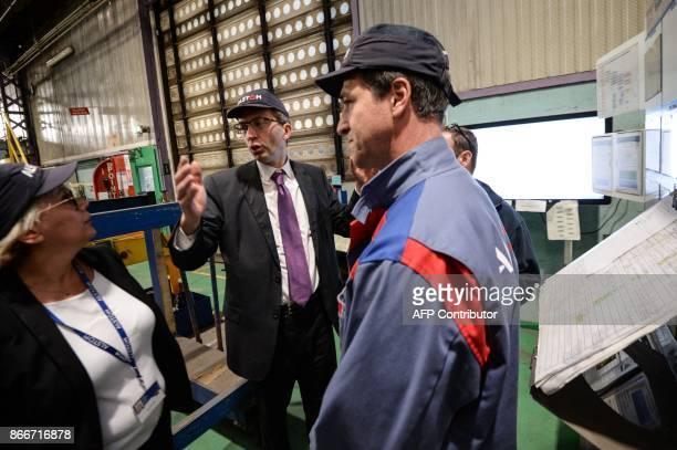 Alstom CIO Henri PoupartLafarge visits the site of French train maker Alstom in Belfort on October 26 2017 / AFP PHOTO / SEBASTIEN BOZON