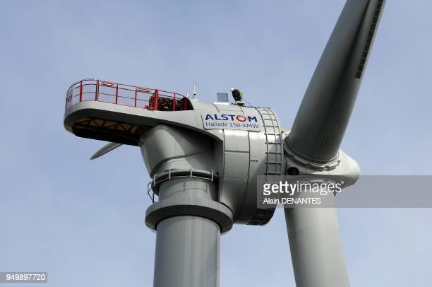 Alstom erects the largest ever wind turbine, Haliade 150 with 6MW power, the first new generation offshore wind turbine, in Le Carnet near Frossay ,...