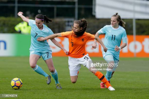 Alsu Abdullina of Russia Women U19 Joelle Smits of Holland Women U19 Viktoriia DXergousova of Russia Women U19 during the Dutch Eredivisie match...