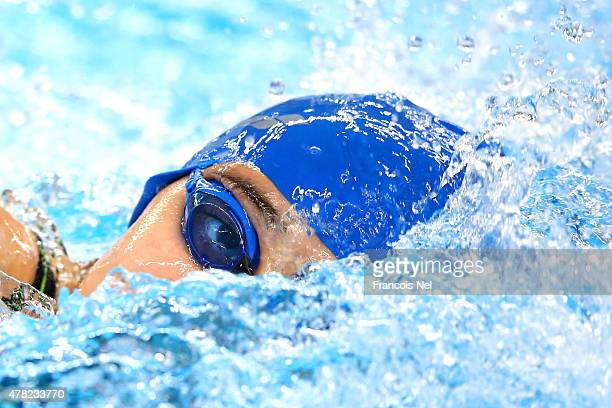 Alsu Bayramova of Azerbaijan swims the second leg in the Mixed 4x100m Freestyle Relay heats during day twelve of the Baku 2015 European Games at the...