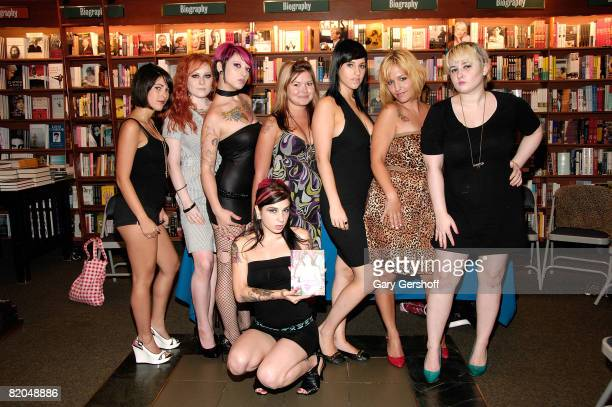 Alt porn star and entrepreneur Joanna Angel and the girls of Burning Angelcom pose for pictures before signing copies of BurningAngel Book at Barnes...