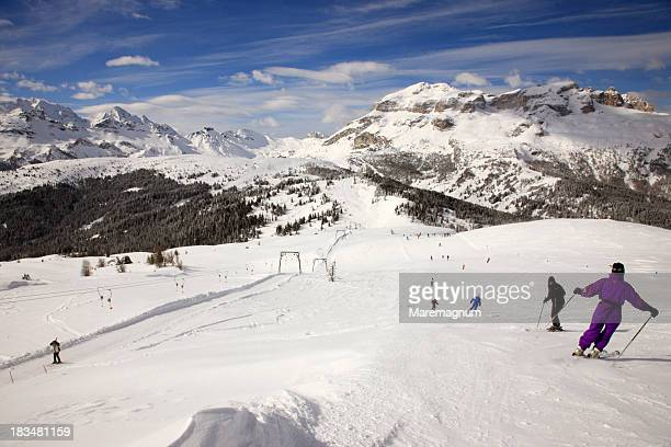 alta badia ski area in the dolomites - alta badia stock pictures, royalty-free photos & images