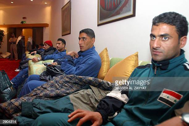 AlTalaba players rest upon their arrival in Kuwait City early 27 January 2004 AlTalaba the first Iraqi soccer team to visit Kuwait since the 1992...