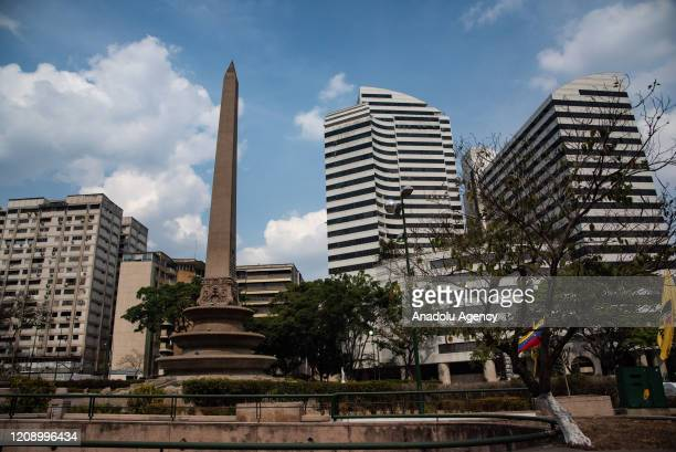 Altamira Square and it's surrounding are seen empty as a preventive measure against the new type of coronavirus pandemic in Caracas Venezuela on...