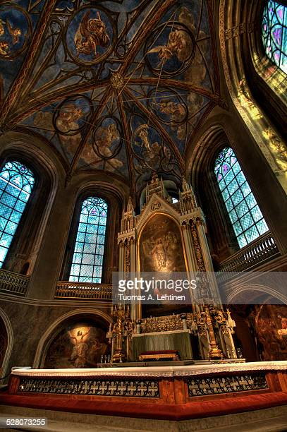 altar and ornate roof at the turku cathedral - turku finland stock photos and pictures