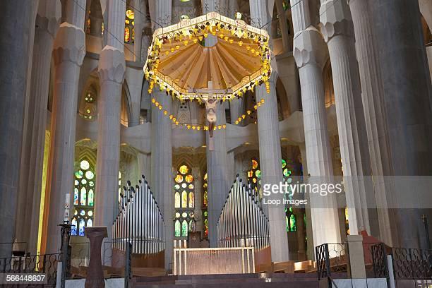 Altar and pillars inside La Sagrada Familia Cathedral in Barcelona.