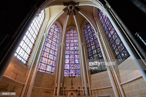 Altar And Stained Glass Windows In A Radiating Chapel Of Chartres Cathedral Chartres France