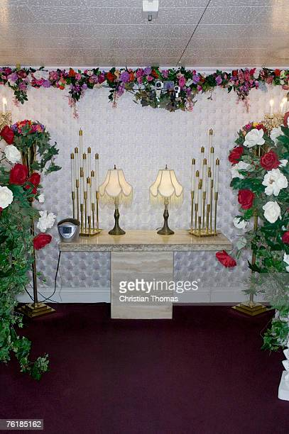 altar at a wedding chapel, las vegas, nevada - chapel stock pictures, royalty-free photos & images