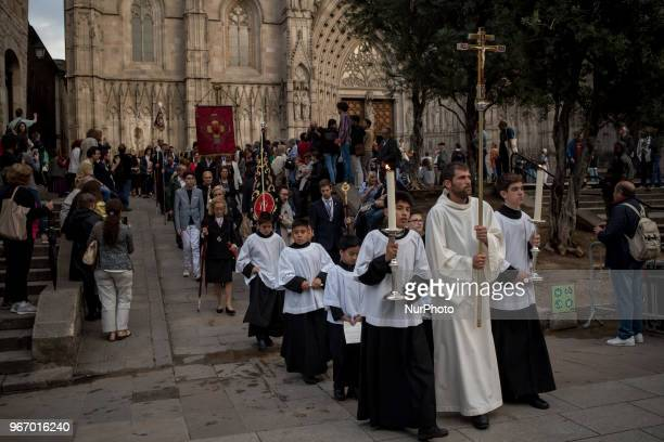 Altar boys parade during the Corpus Christi procession in Barcelona Spain on 3rd June 2018 The solemnity of Corpus Christi in Barcelona has...