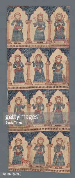 Altar Curtain with Ten Apostles and Two Evangelists, 18th–19th century, Printed cotton, 80 1/2 × 30 5/8 in. , This printed altar cloth served the...